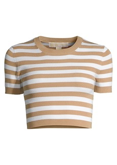 MICHAEL Michael Kors Stripe Knit Cropped Top