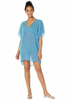 MICHAEL Michael Kors Stripe Lace-Up Tunic Cover-Up