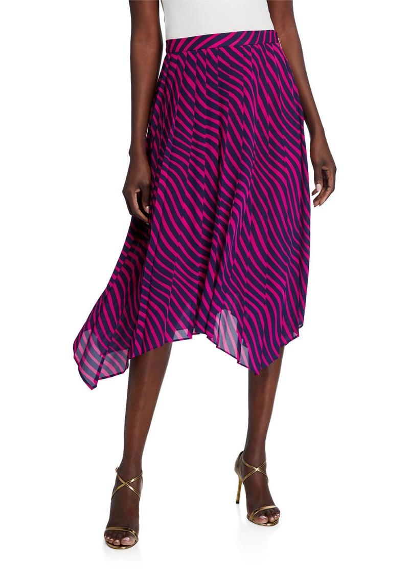MICHAEL Michael Kors Stripe Pleated Handkerchief Skirt