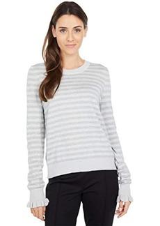 MICHAEL Michael Kors Stripe Ruffle Sleeve Sweater