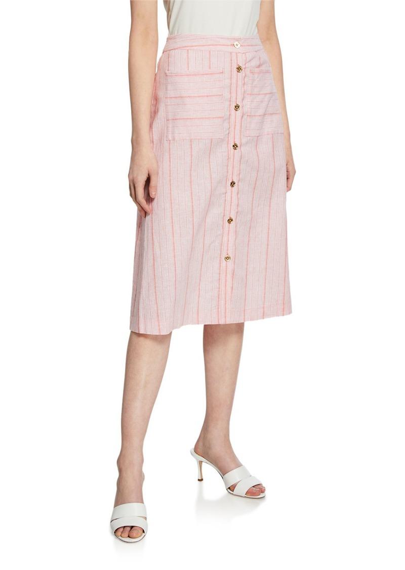 MICHAEL Michael Kors Striped Linen Button-Down Midi Circle Skirt
