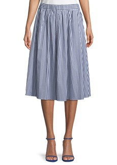 MICHAEL Michael Kors Striped Pull-On Midi Skirt