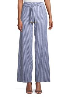 Striped Tie-Waist Wide-Leg Pants
