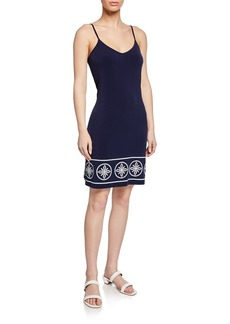 MICHAEL Michael Kors Stud-Border Scoop-Neck Spaghetti-Strap Slip Dress