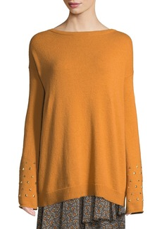 MICHAEL Michael Kors Studded-Cuff Drop-Shoulder Sweater