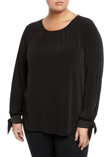 MICHAEL Michael Kors Studded-Cuff Scoop-Neck Blouse
