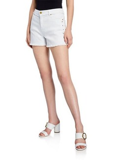 MICHAEL Michael Kors Studded Jean Shorts w/ Fray Hem