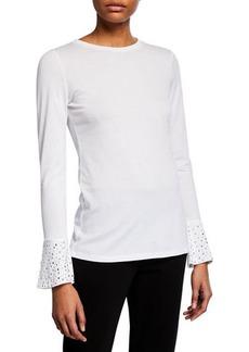 MICHAEL Michael Kors Studded Long-Sleeve Cotton-Blend Top
