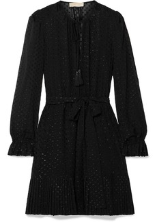 MICHAEL Michael Kors Tasseled Pleated Fil Coupé Georgette Mini Dress
