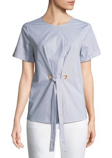 MICHAEL Michael Kors Tie-Front Short-Sleeve Poplin Blouse