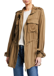MICHAEL Michael Kors Tie-Sleeve Hooded Anorak Jacket