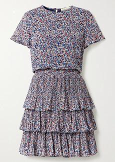 MICHAEL Michael Kors Tiered Floral-print Plissé-georgette Mini Dress