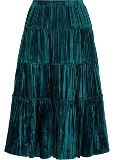 MICHAEL Michael Kors Tiered Plissé-velvet Midi Skirt