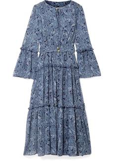 MICHAEL Michael Kors Tiered Printed Chiffon Midi Dress