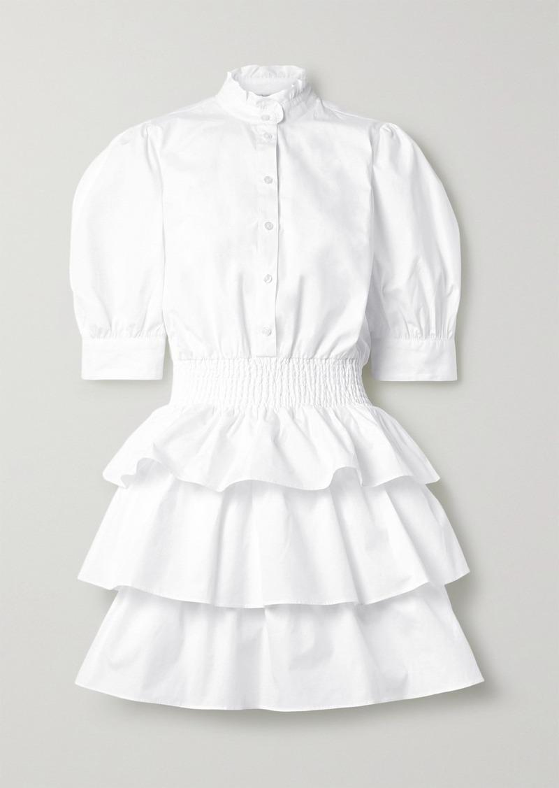 Tiered Shirred Cotton-poplin Mini Dress