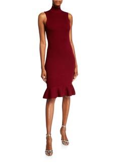 MICHAEL Michael Kors Turtleneck Sleeveless Ruffle-Hem Dress