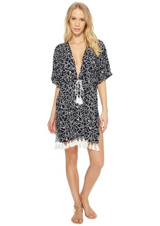 Twisted Rope Caftan Cover-Up w/ Tassels