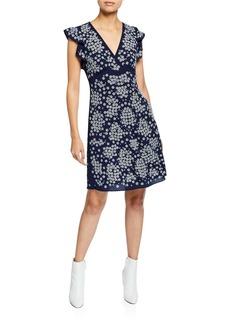 MICHAEL Michael Kors V-Neck Cap-Sleeve Floral-Embroidered A-Line Dress