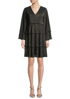 MICHAEL Michael Kors V-Neck Full-Sleeve Metallic-Striped Ruffle Tier Dress