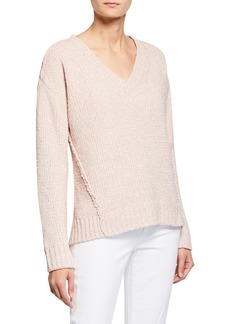 MICHAEL Michael Kors V-Neck Metallic Chenille Seamed Sweater