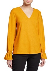 MICHAEL Michael Kors V-Neck Ruffle-Sleeve Top