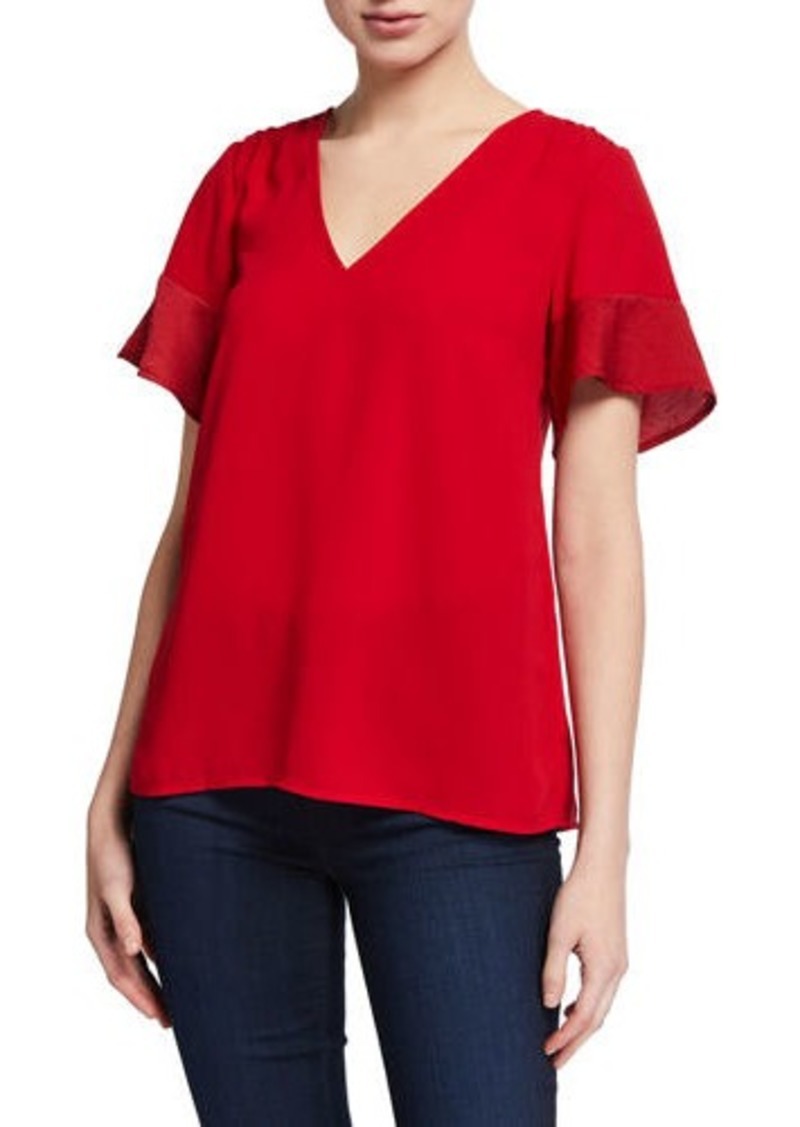 MICHAEL Michael Kors V-Neck Short-Sleeve Mix Media Top