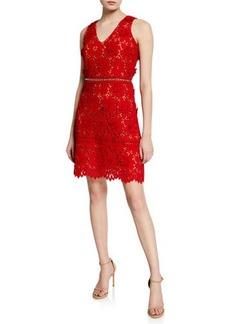 MICHAEL Michael Kors V-Neck Sleeveless 3D Carnation Lace Mini Dress