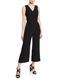 MICHAEL Michael Kors V-Neck Sleeveless Crop Jumpsuit w/ D-Ring Belt