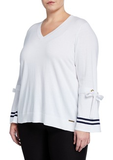 MICHAEL Michael Kors V-Neck Tie-Cuff Pullover  Plus Size