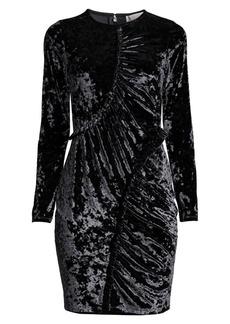 MICHAEL Michael Kors Velvet Ruffle Bodycon Dress