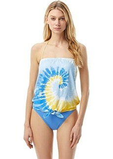 MICHAEL Michael Kors Vintage Tie-Dye Tie Front Tankini with Removable Soft Cup