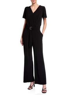 MICHAEL Michael Kors Wide-Leg Faux-Wrap Jumpsuit