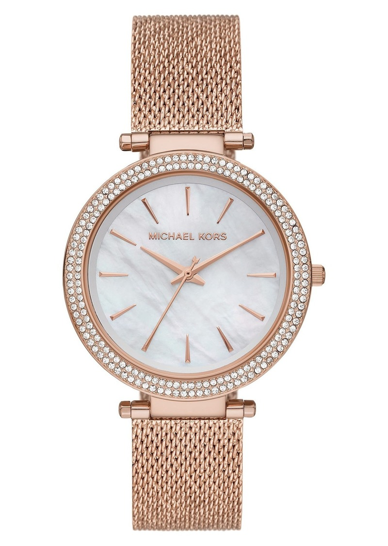 MICHAEL Michael Kors Women's Michael Kors 'Darci' Crystal Bezel Mesh Strap Watch