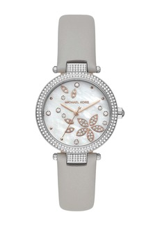 MICHAEL Michael Kors Women's Parker Three-Hand Gray Leather Watch, 33mm