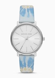 MICHAEL Michael Kors Women's Pyper Three-Hand Blue Tie-Dye Leather Watch, 38mm