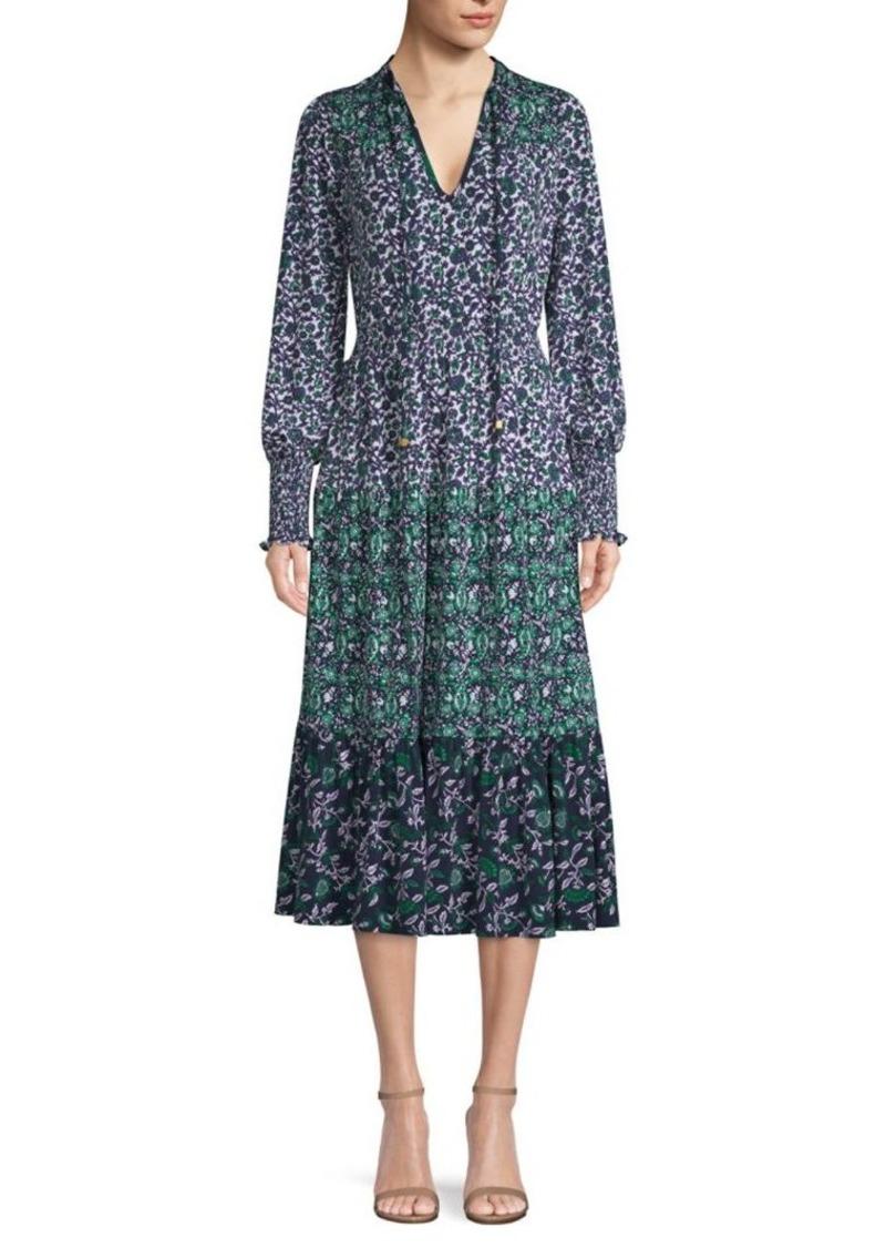 MICHAEL Michael Kors Woodblock Paisley Print Midi Dress