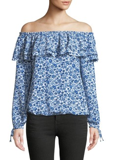 MICHAEL Michael Kors Woodblock Vine Off-the-Shoulder Ruffle Blouse