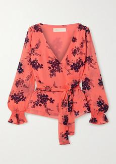 MICHAEL Michael Kors Wrap-effect Floral-print Crepe Top