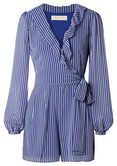 MICHAEL Michael Kors Wrap-effect Ruffled Striped Georgette Playsuit