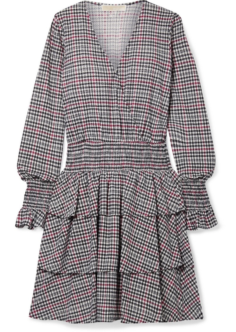 MICHAEL Michael Kors Wrap-effect Tiered Checked Voile Mini Dress