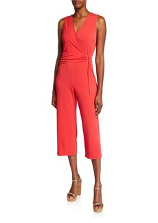 MICHAEL Michael Kors Wrap-Front Sleeveless Cropped Jumpsuit