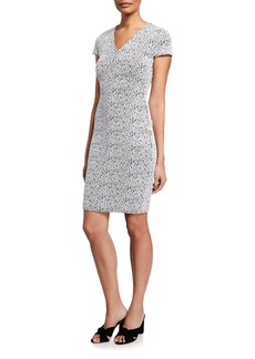 MICHAEL Michael Kors Yala Leo V-Neck Cap-Sleeve Bodycon Dress