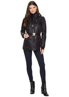 Zip Front Embossed Jacket with Knit Sides MA420413CZ