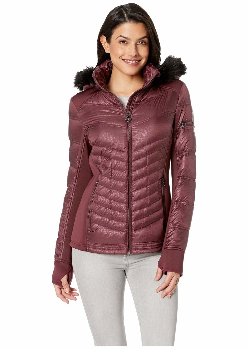 c8b1729d9 Zip Front Knit and Down Jacket A820142G