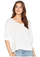 Michael Stars Cotton Knits Elbow Sleeve Sweater with Back Detail