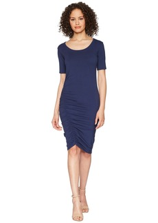 Michael Stars Cotton Lycra® Elbow Sleeve Scoop Neck Dress