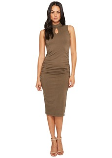 Michael Stars Cotton Lycra Mock Neck Sleeveless Dress