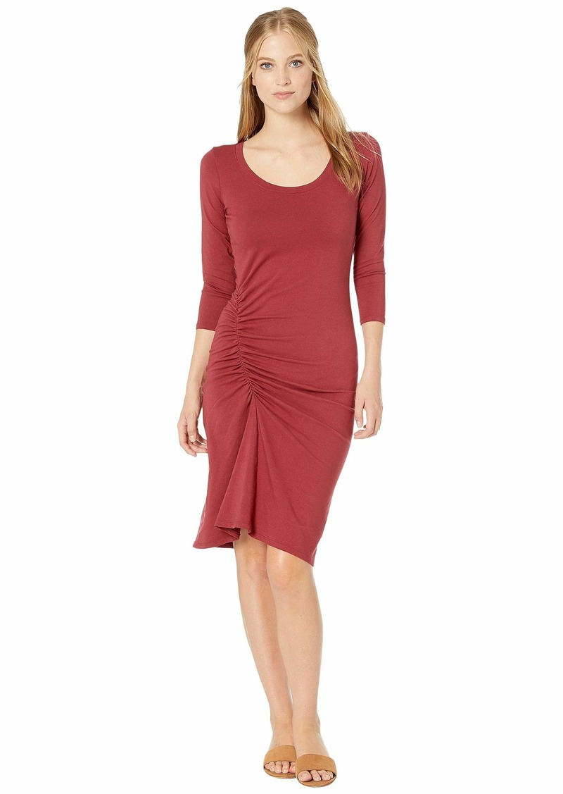 Michael Stars Cotton Lycra Tina 3/4 Sleeve Ruched Dress