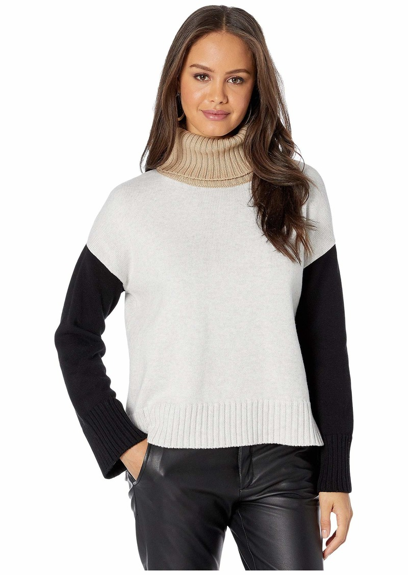 Michael Stars Daria Color Block Turtleneck Sweater