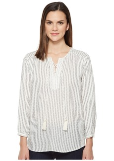 Michael Stars Dobby Stripe Tie Up Blouse